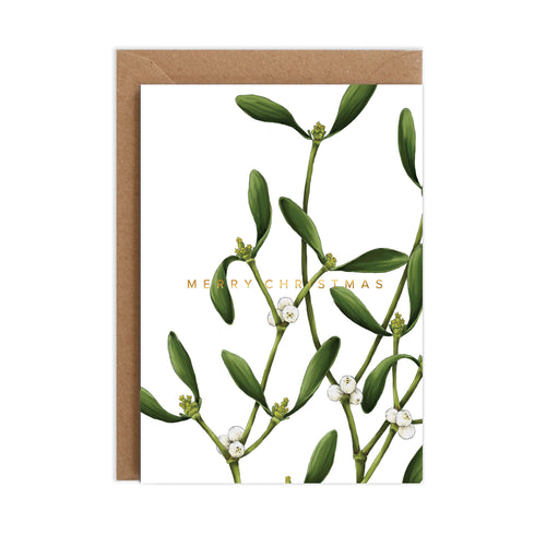 Mistletoe - White Christmas Card
