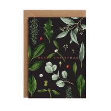Load image into Gallery viewer, Greenery - Black Christmas Card