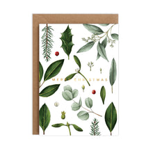 Load image into Gallery viewer, Greenery - White Christmas Card