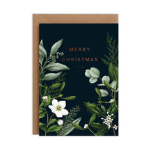 Load image into Gallery viewer, Greenery Border - Black Christmas Card