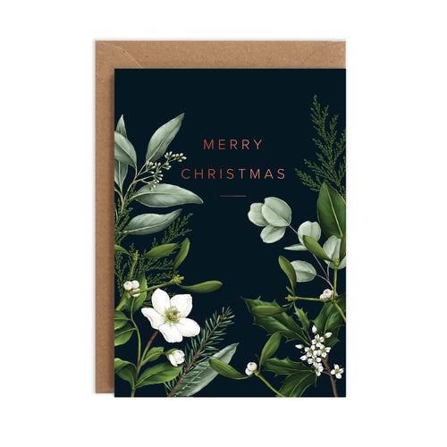 Greenery Border - Black Christmas Card