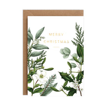 Load image into Gallery viewer, Greenery Border - White Christmas Card