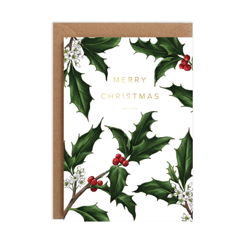 Holly Border - White Christmas Card