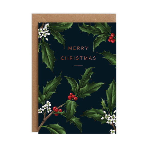 Holly Border - Black Christmas Card