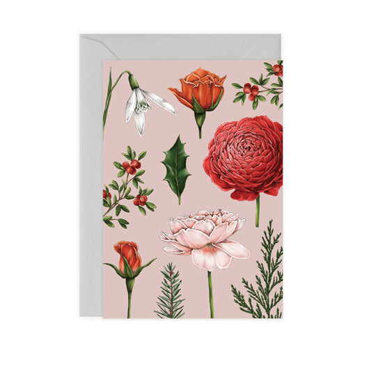 Berry Roses - Pink Christmas Card