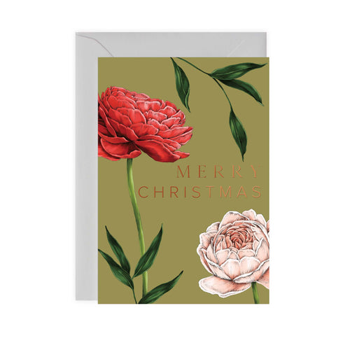 Berry Roses - Rose - Green Christmas Card