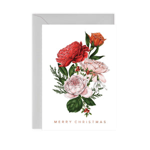 Berry Roses - Bunch - White Christmas Card