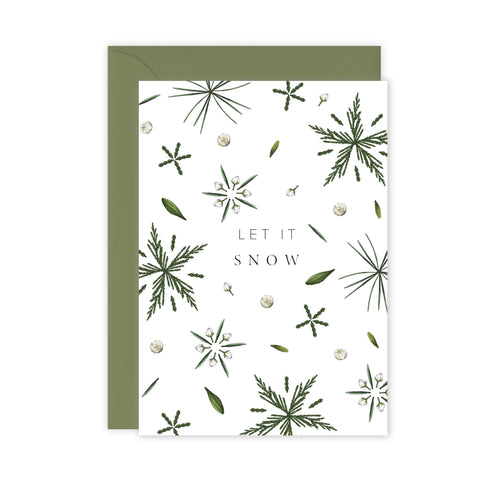 Festive Foliage - Let it Snow - Christmas Card - SALE