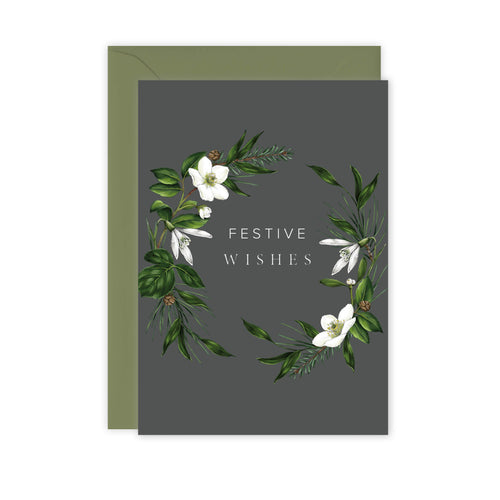 Festive Foliage - Festive Wishes - Christmas Card - SALE