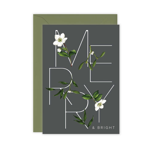 Festive Foliage - Merry & Bright - Christmas Card - SALE