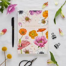 Load image into Gallery viewer, Hardback A5 Sketchbook - Floral Brights