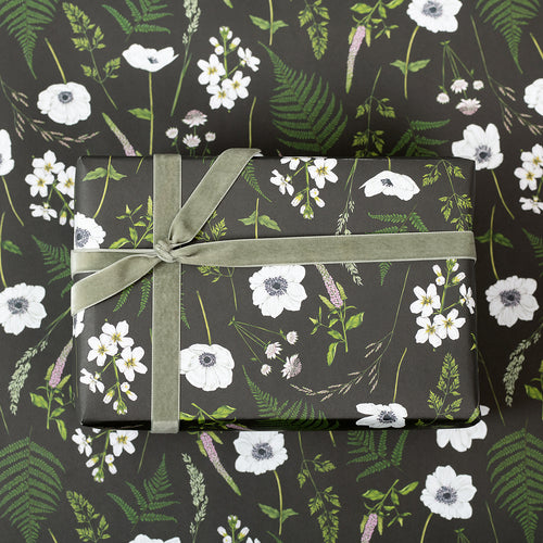 Wild Meadow - Black - Gift Wrap