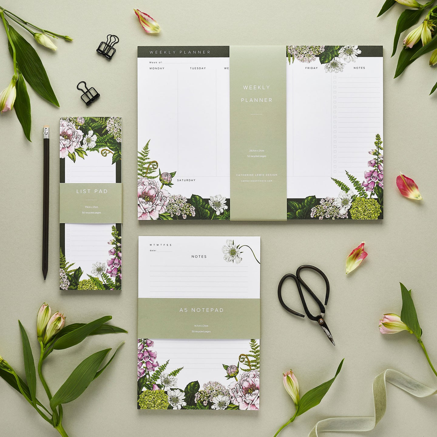 Stationery Trio - Planner, Notepad & List Pad Set - Summer Garden