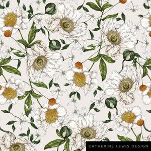 Spring Blossom - Ivory - Fabric by the metre
