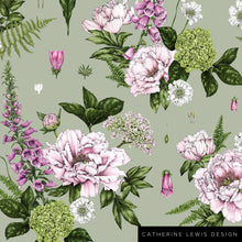 Load image into Gallery viewer, Summer Garden - Light Green - Fabric by the metre