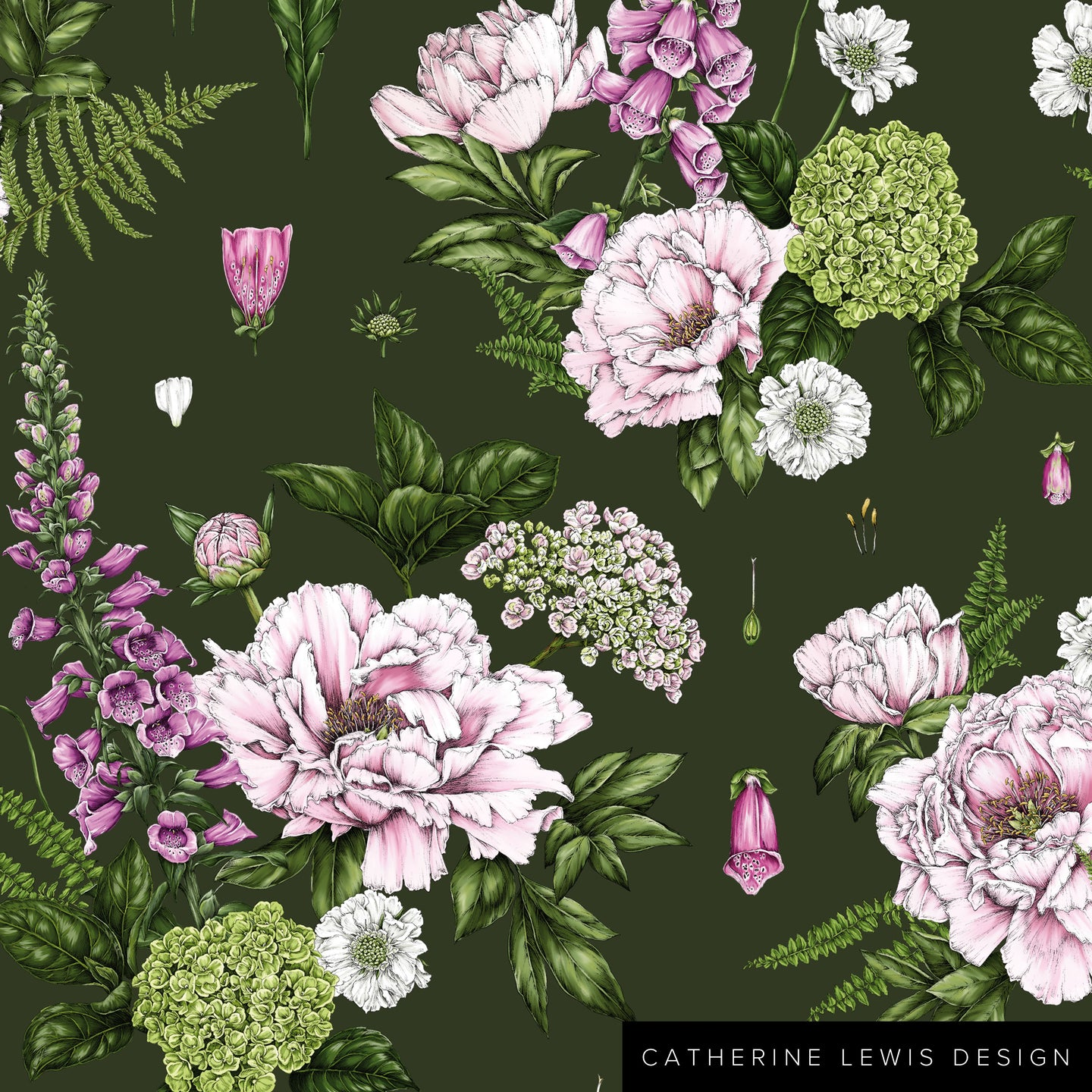 Summer Garden - Dark Green - Fabric by the metre