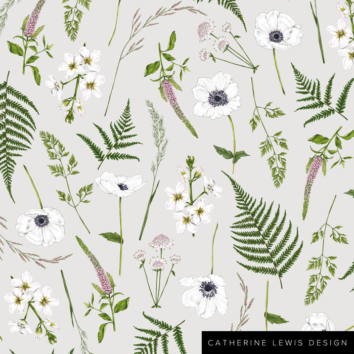 Wild Meadow - Grey - Fabric by the metre