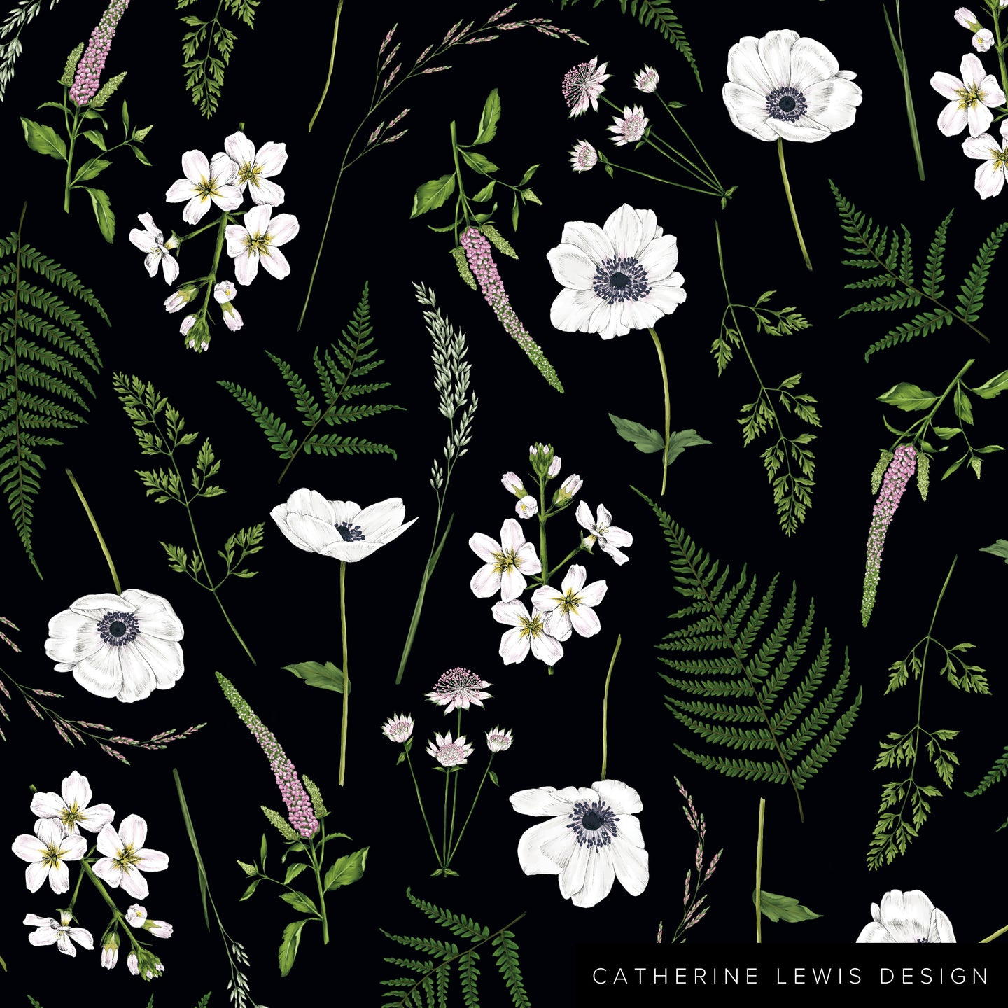 Wild Meadow - Black - Fabric by the metre