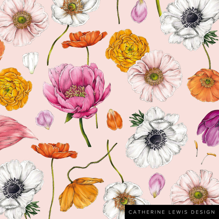 Floral Brights - Pink - Fabric by the metre