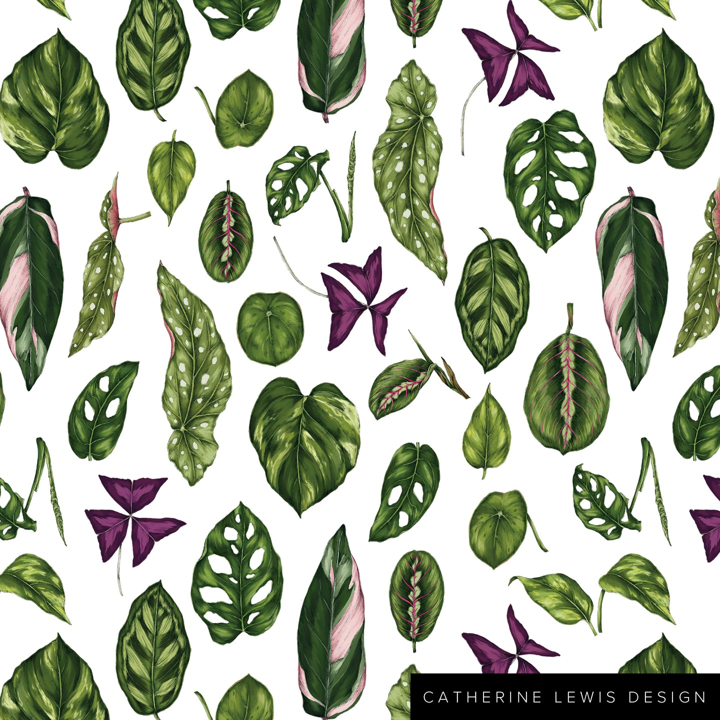 Houseplants - White - Fabric by the metre