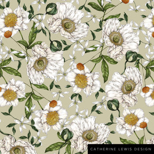 Spring Blossom - Green - Fabric by the metre