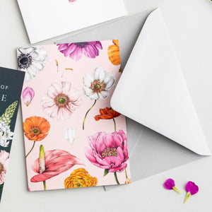 Floral Brights - Pack of 6 Blank Cards - Pink