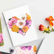 Load image into Gallery viewer, Floral Brights Heart Card