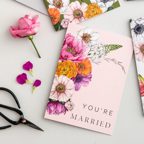 Floral Brights 'You're Married' Card