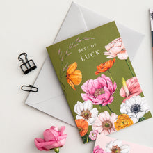 Load image into Gallery viewer, Floral Brights 'Best Of Luck' Card