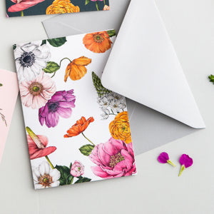 Floral Brights - Pack of 6 Blank Cards - White