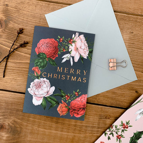 Berry Roses - Wreath - Navy Christmas Card