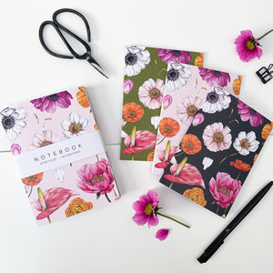 'Floral Brights' Collection - A6 Set of 3 Notebooks