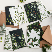 Load image into Gallery viewer, Box of 8 Luxury Botanical Christmas Cards - 'Greenery' Collection