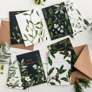 Box of 8 Luxury Botanical Christmas Cards - 'Greenery' Collection