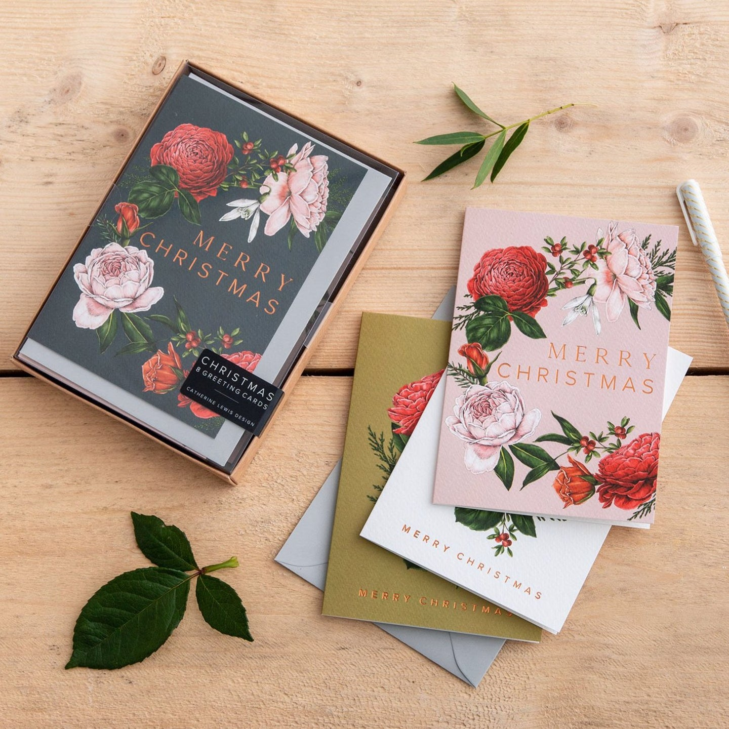 Box of 8 Botanical Luxury Christmas Cards - 'Berry Roses' Collection