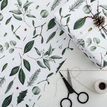 Load image into Gallery viewer, Greenery - White Christmas Gift Wrap