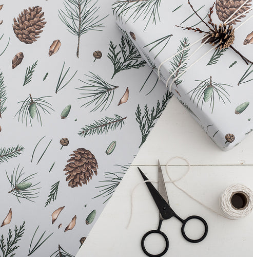 White Pine - Grey Christmas Gift Wrap