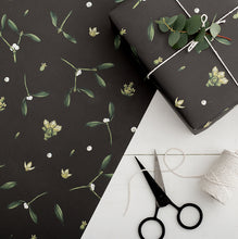 Load image into Gallery viewer, Mistletoe - Black Christmas Gift Wrap