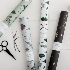 Greenery - White Christmas Gift Wrap
