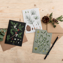 Load image into Gallery viewer, Box of 8 Botanical Luxury Christmas Cards - 'Species' Collection