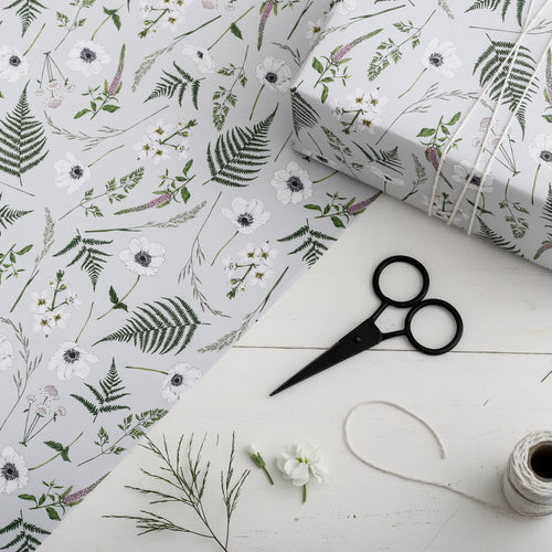 Wild Meadow Gift Wrap - Grey