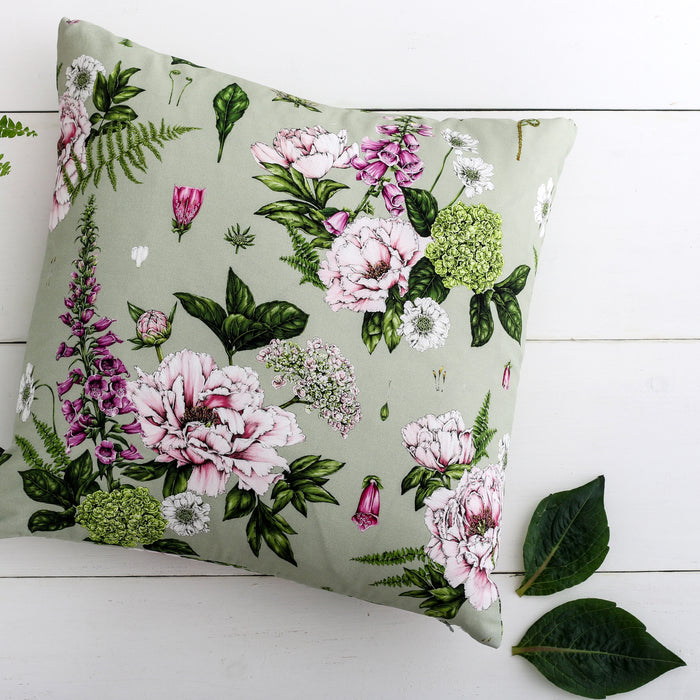 Summer Garden - Square Botanical Cushion - Light Green