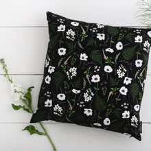 Load image into Gallery viewer, Wild Meadow - Square Botanical Cushion - Black