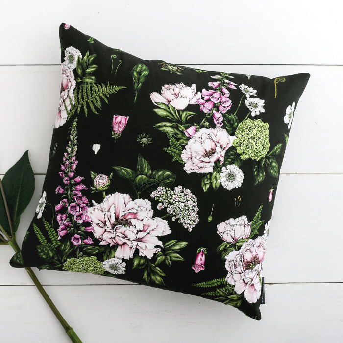 Summer Garden - Square Botanical Cushion - Dark Green