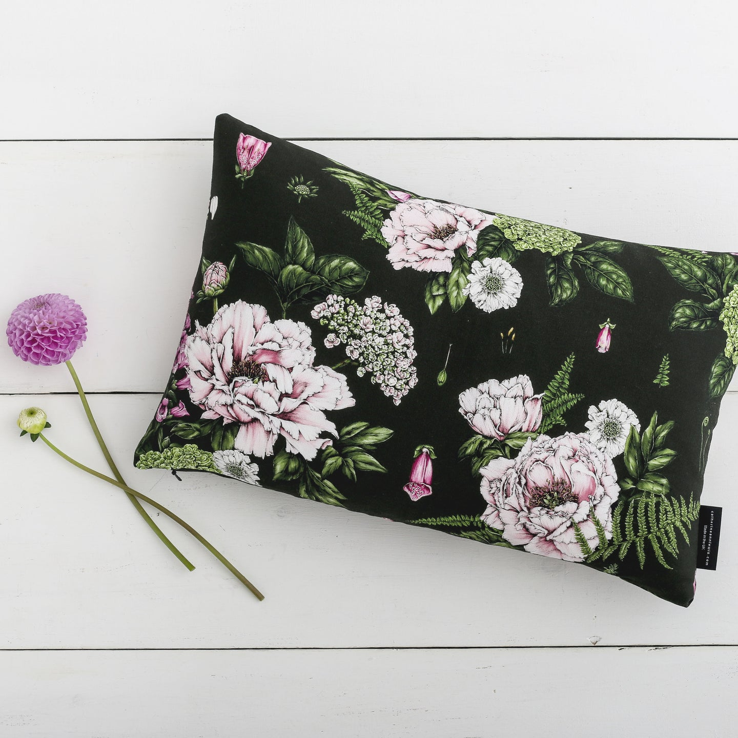 Summer Garden - Rectangle Botanical Cushion - Dark Green