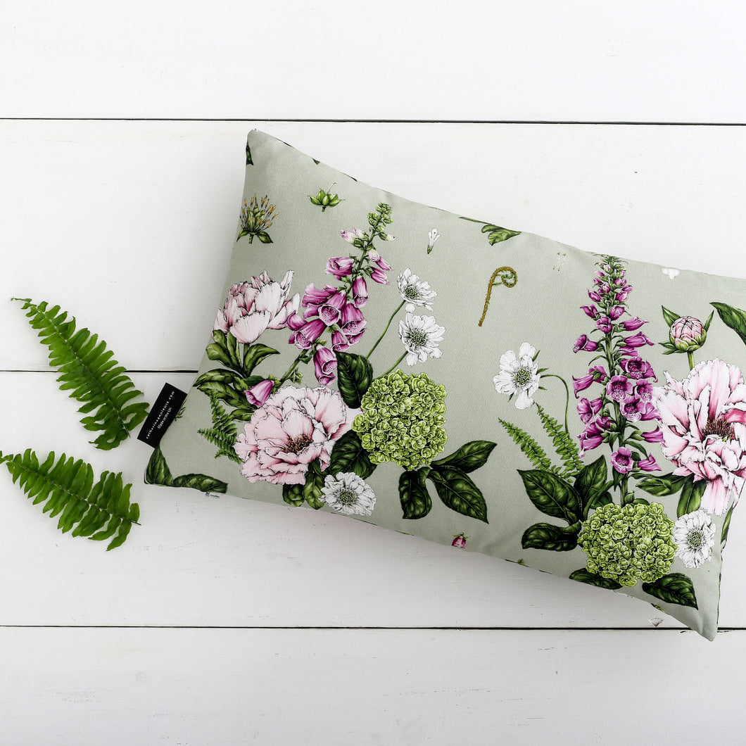 Summer Garden - Rectangle Botanical Cushion - Light Green