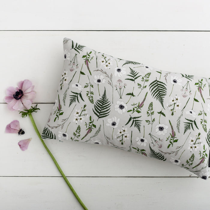 Wild Meadow - Rectangle Botanical Cushion - Grey