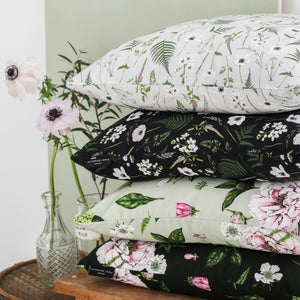Wild Meadow - Square Botanical Cushion - Grey