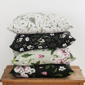 Wild Meadow - Square Botanical Cushion - Black