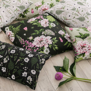 Wild Meadow - Rectangle Botanical Cushion - Black